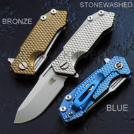 "Rick Hinderer Knives Half Track Folding Knife, Satin 2.75"" S35VN Blade, Anodized Blue Lock Side, Anodized Blue Titanium"