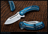 "Todd Begg Knives Steelcraft Series Field Marshall FM233 Folding Knife, Hand Satin 4"" CPM-S35VN Blade, Blue, Blue, Silver Handle"