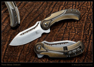 "Todd Begg Knives Steelcraft Series Field Marshall FM243 Folding Knife, Hand Satin 4"" CPM-S35VN Blade, Bronze, Gold, Silver Handle"