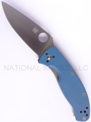 "Spyderco Tenacious C122GPBL Folding Knife, Satin 3-3/8"" Plain Edge Blade, Blue G-10 Handle"