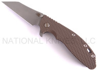 "Rick Hinderer Knives XM-24 Wharncliffe Folding Knife, Working Finish 4"" Plain Edge M390 Blade, Working Finish Lock Side, Flat Dark Earth (FDE) G-10 Handle"