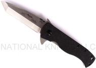 "Emerson CQC-7F SF Flipper 7 Tanto Folding Knife, Stonewashed 3.25"" Plain Edge 154CM Blade, Black G-10 Handle, Emerson ""Wave"" Feature"