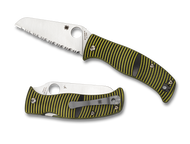 "Spyderco Caribbean Sheepfoot Shape C217GSSF Folding Knife, 3.687"" Serrated Edge Blade, Black and Yellow G-10 Handle"