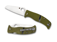 "Spyderco Caribbean Sheepfoot Shape C217GPSF Folding Knife, 3.687"" Plain Edge Blade, Black and Yellow G-10 Handle"