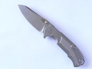 """USED - Rick Hinderer Knives MP-1 Flipper Folding Knife, Stonewashed 3.25"""" Plain Edge S35VN Blade, Stonewashed Lock Side, Stonewashed Titanium Handle 1"""