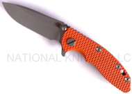 "Rick Hinderer Knives XM-18 Spearpoint Folding Knife, Working Finish 3"" Plain Edge S35VN Blade, Working Finish Lock Side, Orange G-10 Handle"