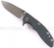 "Rick Hinderer Knives XM-18 Spearpoint Folding Knife, Stonewashed 3"" Plain Edge S35VN Blade, Factory Anodized Bronze Lock Side, Dark Green G-10 Handle"