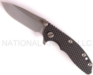 "Rick Hinderer Knives XM-18 Spearpoint Folding Knife, Stonewashed 3"" Plain Edge S35VN Blade, Stonewashed Lock Side, Black G-10 Handle"