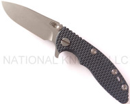 "Rick Hinderer Knives XM-18 Slicer Folding Knife, Working Finish 3"" Plain Edge S35VN Blade, Working Finish Lock Side, Blue - Black G-10 Handle"