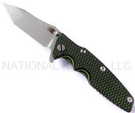 "Rick Hinderer Knives Generation 2 Eklipse Harpoon Tanto Folding Knife, Working Finish 3 5/8"" Plain Edge CPM-20CV Blade, Working Finish Lock Side, Toxic Green and Black G-10 Handle"