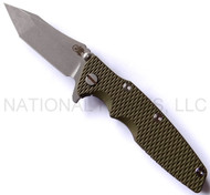 "Rick Hinderer Knives Generation 2 Eklipse Harpoon Tanto Folding Knife, Working Finish 3 5/8"" Plain Edge CPM-20CV Blade, Hinderer Factory Battle Bronze Lock Side, Olive Drab (OD) G-10 Handle"
