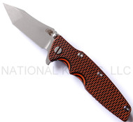 "Rick Hinderer Knives Generation 2 Eklipse Harpoon Tanto Folding Knife, Working Finish 3 5/8"" Plain Edge CPM-20CV Blade, Working Finish Lock Side, Orange and Black G-10 Handle"