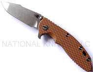 "Rick Hinderer Knives XM-18 Harpoon Spanto Folding Knife, Stonewashed 3.5"" Plain Edge CPM-20CV Blade, Stonewashed Lockside, Coyote Brown G-10 Handle"