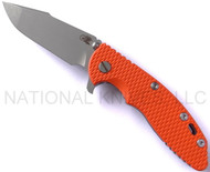 "Rick Hinderer Knives XM-18 Harpoon Spanto Folding Knife, Working Finish 3.5"" Plain Edge CPM-20CV Blade, Working Finish Lockside, Orange G-10 Handle"