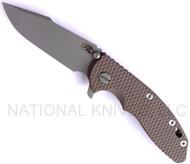 "Rick Hinderer Knives XM-18 Harpoon Spanto Folding Knife, Working Finish 3.5"" Plain Edge CPM-20CV Blade, Hinderer Factory Battle Bronze Lockside, Flat Dark Earth (FDE) G-10 Handle"
