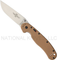 "Ontario RAT 1A 8870TN Assisted Opening Folding Knife, Satin 3.6"" Plain Edge Blade, Tan Handle"