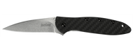 "Kershaw Leek 1660CF Assisted Opening Folding Knife, Stonewashed 3"" Plain Edge 154CM Blade, Black Carbon Fiber Handle"