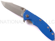 "Rick Hinderer Knives XM-18 Harpoon Spanto Folding Knife, Working Finish 3.5"" Plain Edge CPM-20CV Blade, Working Finish Lockside, Blue G-10 Handle"