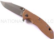 "Rick Hinderer Knives XM-18 Harpoon Spanto Folding Knife, Working Finish 3.5"" Plain Edge CPM-20CV Blade, Working Finish Lockside, Coyote Brown G-10 Handle"