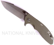 "Rick Hinderer Knives XM-18 Harpoon Spanto Folding Knife, Stonewashed 3.5"" Plain Edge CPM-20CV Blade, Stonewashed Lockside, Olive Drab (OD) G-10 Handle"