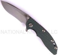 "Rick Hinderer Knives XM-18 Recurve Folding Knife, Stonewashed 3"" Plain Edge S35VN Blade, Stonewashed Lock Side, Dark Green G-10 Handle"