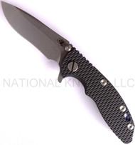 "Rick Hinderer Knives XM-18 Recurve Folding Knife, Stonewashed 3"" Plain Edge S35VN Blade. Hinderer Factory Anodized Blue Lock Side, Black G-10 Handle"