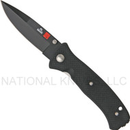 "Al Mar Mini SERE 2000 MS2KB Folding Knife, Black 3"" Plain Edge Blade, Black G-10 Handle"