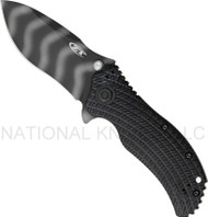 "Zero Tolerance 0303 Assisted Opening Folding Knife, Tiger Striped 3.75"" Plain Edge Blade"