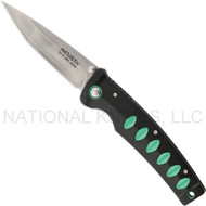 "Mcusta Katana MC-44C Folding Knife, 3.437"" Plain Edge Blade, Black and Green Aluminum Handle"