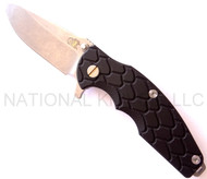 "Rick Hinderer Knives Jurassic Spear Point Folding Knife, Stonewashed 3.25"" Plain Edge S35VN Blade. Stonewashed Lock Side, Black G-10 Handle"
