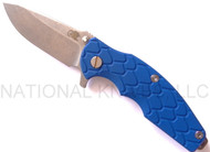"Rick Hinderer Knives Jurassic Spear Point Folding Knife, Stonewashed 3.25"" Plain Edge S35VN Blade. Stonewashed Lock Side, Blue G-10 Handle"