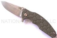 "Rick Hinderer Knives Jurassic Spear Point Folding Knife, Stonewashed 3.25"" Plain Edge S35VN Blade. Stonewashed Lock Side, Olive Drab (OD) G-10 Handle"