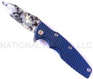 "Rick Hinderer Knives Generation 2 Eklipse Harpoon  Tanto Folding Knife, Digital Camo/Working Finish 3 5/8"" Plain Edge CPM-20CV Blade, Digital Camo/Battle Blue Finish Lock Side, Blue - Black G-10 Handle"