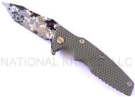 "Rick Hinderer Knives Generation 2 Eklipse Harpoon Tanto Folding Knife, Digital Camo/Working Finish 3 5/8"" Plain Edge CPM-20CV Blade, Digital Camo/FACTORY Battle Bronze Finish Lock Side, Olive Drab G-10 Handle"