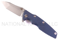 "Rick Hinderer Knives Generation 2 Eklipse Harpoon Tanto Folding Knife, Working Finish 3 5/8"" Plain Edge CPM-20CV Blade, Hinderer Factory Battle Blue Lock Side, Blue - Black G-10 Handle"