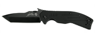 "Kershaw Emerson CQC-8K 6044TBLK Folding Knife, Black 3.5"" Plain Edge Blade, Black G-10 Handle"
