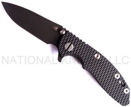 """Rick Hinderer Knives XM-18 Spanto Folding Knife,  DLC Black 3"""" Plain Edge S35VN Blade. Hinderer Factory DLC Black Lock Side, Black G-10 Handle"""