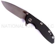 "Rick Hinderer Knives XM-18 Spanto Folding Knife,  Working Finish 3"" Plain Edge S35VN Blade. Hinderer Factory Working Finish Lock Side, Black G-10 Handle"