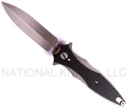 "Rick Hinderer Knives Maximus SINGLE EDGE Folding Knife,  Stonewashed 3.5"" Plain Edge 20CV Blade. Hinderer Factory Stonewashed Titanium and Black G-10 Handle"