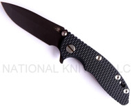 "Rick Hinderer Knives XM-18 Spanto Folding Knife,  Battle Black 3"" Plain Edge S35VN Blade. Hinderer Factory Battle Black Lock Side, Blue - Black G-10 Handle"