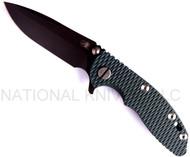 """Rick Hinderer Knives XM-18 Spanto Folding Knife,  Battle Black 3"""" Plain Edge S35VN Blade. Hinderer Factory Battle Black Lock Side, Dark Green G-10 Handle"""