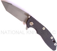 "Rick Hinderer Knives XM-18 Harpoon Tanto Folding Knife, Working Finish 3"" Plain Edge S35VN Blade, Factory Battle Blue Lock Side, Black G-10 Handle"