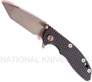 "Rick Hinderer Knives XM-18 Harpoon Tanto Folding Knife, Working Finish 3"" Plain Edge S35VN Blade, Factory Battle Blue Lock Side, Blue - Black G-10 Handle"