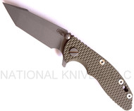 "Rick Hinderer Knives XM-18 Harpoon Tanto Folding Knife, Working Finish 3"" Plain Edge S35VN Blade, Factory Battle Bronze Lock Side, Olive Drab G-10 Handle"