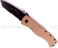 "Emerson Knives CQC-7V BTS Tanto Folding Knife, Black 3.3"" Partially Serrated ""V"" Ground 154CM Blade, Tan G-10 Handle, Emerson ""Wave"" Opener"
