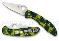 "Spyderco Delica 4 C11ZFPYL Folding  Knife, 2.9"" Flat Ground Plain Edge CPM-S30V Blade, Zome Yellow and Green FRN Handle"