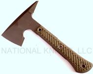 "RMJ Tactical Mini Jenny Tomahawk, 2.69"" Forward Edge 80CRV2, Dirty Olive Handle, Sheath"