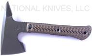 "RMJ Tactical Mini Jenny Tomahawk, 2.69"" Forward Edge 80CRV2, Hyena Brown Handle, Sheath"