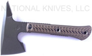 "RMJ Tactical Mini Jenny Tomahawk, 2.69"" Forward Edge 80CRV2, Hyena Brown Handle, Sheath"