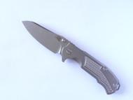"""USED - Rick Hinderer Knives MP-1 Flipper Folding Knife, Stonewashed 3.25"""" Plain Edge S35VN Blade, Stonewashed Lock Side, Stonewashed Titanium Handle 3"""